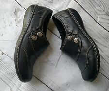 Clarks Bendables Shoes Black Leather Loafers Slip-On Womens Size 6.5