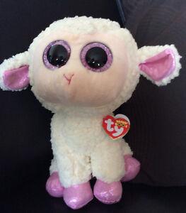 W-F-L Ty Buddy Daria 8 11/16in Lamb Sheep Easter Boos Glubschi Glitter Eyes