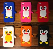 BULK Set Of Six Penguin 3D Gel Soft Silicone Rubber Case Cover for iPhone 4/4S