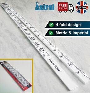 1M Folding Ruler | Metric-Imperial Scale | 4-Fold Yard Stick | Carpenters Rule