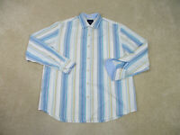 Tommy Bahama Button Up Shirt Adult Extra Large White Blue Long Sleeve Mens B58*