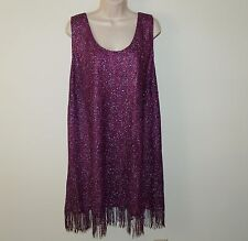 Women's Purple Sparkly Fringe Chemise Size 4X 26/28 Nightgown Lingerie Sleepwear