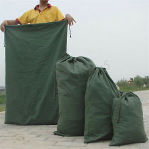 Canvas Drawstring Large Bag Pouch Clothes Craft Storage Laundry Army Green