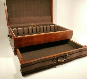 "Reed & Barton Silverware Large 17"" Provincial Mahogany Storage Chest Box w Felt"