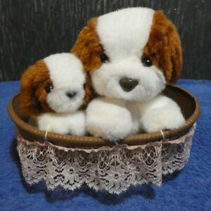 MUSICAL WIND-UP MOTHER & PUPPY IN A BASKET MOVING SOFT TOY BROWN/WHITE LULLABY