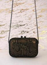 KOTUR Metallic Bronze Black Suede Animal Print Box Clutch Shoulder Bag BRAND NEW