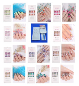 Metallic Holographic Stiletto False Full Cover Nail Tips Acrylic Glue File Gel
