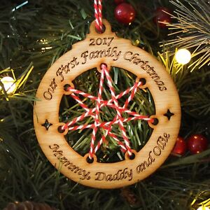 Personalised 1st First Family Christmas Wood Xmas Bauble Keepsake New Baby Gift