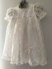 vintage baby girls christening dress white lace sz 6m