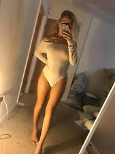 EX Pretty Little Thing Nude Strapless Off Shoulder Bodycon Bodysuit Thong Body