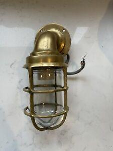 Antique Industrial Bulk Head Light Brass
