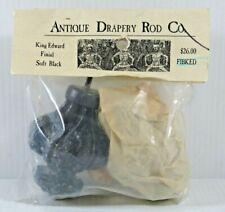 "Antique Drapery Rod Co. ~ 2"" King Edward Finial Soft Black #FIBKED (2-Pack) NEW"