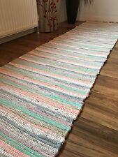 ❤️Pastel Multi Colour Rag Rug Recycled Fringed Edge 60 x 240cm Flat Weave Runner
