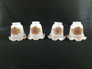 4 Vintage Ruffled Brown Rose Flowers Glass Tulip Lamp Shade Sconce Ceiling Fan