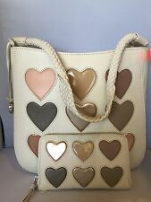 "Brighton ""Holly"" Off White Leather Heart Shoulder Bag W/ Matching Wallet"