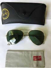RAY-BAN AUTHENTIC RB 3025 Large Metal Classic Aviator Gold Frame Sunglasses 58mm