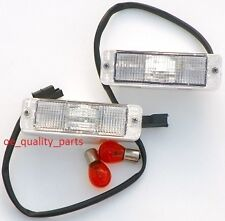 VW GOLF MK1 MK2 POLO CADDY PAIR FRONT BUMPER WHITE INDICATOR LIGHT LAMPS LENSES