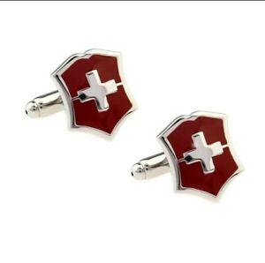 Novelty Men's Men Shirt Cufflinks Red Swiss Flag Cuff Links Fashion Jewelry