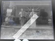 Glass Negative circus show Imperial Marionettes fairground photo girl musicians