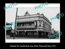 Old Postcard Size Photo Of Adelaide Sacumberland Arms Hotel Weymouth St 1940