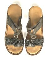 RIEKER Sandals Slip-on Shoes Silver Sparkle Women's size 37 (US 7) Slight Wedge