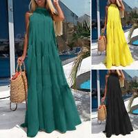 UK Women Sleeveless Summer Bohemia Kaftan Long Maxi Dress Cocktail Party Dresses