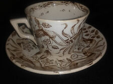 "Vtg Charles Allerton Sons English Brown Transf.  Tea Cup & Saucer "" New Ribbon"""
