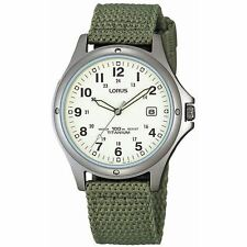Lorus Mens Analogue Green Canvas Strap RXD425L8 Watch