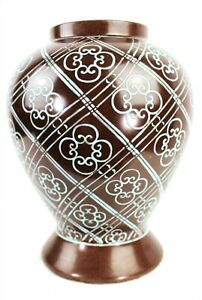 GINGER JAR VASE Japanese Brown Glazed Urn Blue Floral Raised Paint 10 In Tall