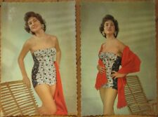 Pair 1950's Pinup Postcards - Woman with a Bamboo Chair