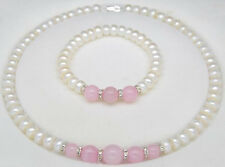 Fashion 7-8mm Real Natural White Pearl & Pink Jade Necklace Bracelet Jewelry Set
