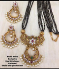 Indian Mangalsutra Women Matt Gold Plated Jewelry Zircon Black Bead Chain Set