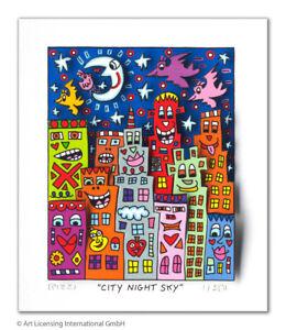 "Original 3 D Grafik James Rizzi "" City night sky"" original Zertifikat NEU"