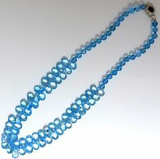 NATURAL 260CT. BLUE TOPAZ & SAPPHIRE DIAMOND NECKLACE 14KT+