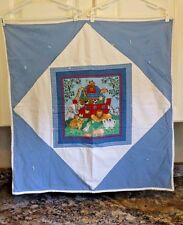 Baby Quilt Noahs Ark Machine Stitched Hand Tied Flannel Type Back 34 x 34 Inches
