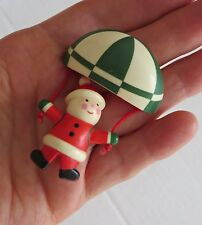 Vintage 1980's Santa Claus Sky Diving with Parachute Christmas Pin Brooch