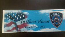 NYPD 9/11/01 Bumper Sticker
