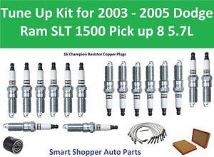 Tune Up For 2003-2005 Dodge Ram 1500 SLT Pickup 5.7L Spark Plug Wire Set, Filter