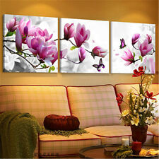 Framed 3 Panel Pink Flower Picture Canvas Print Wall Art Home Decor Painting