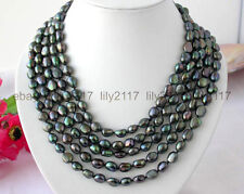 Fashion 10-11mm Genuine natural  baroque black peacock pearl Necklace 100""