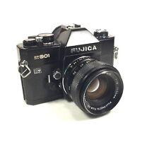 FUJICA ST801 35mm Black SLR Film Camera with Lens Fujinon 1:1.8 55mm, WORKS!
