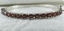 LARGE SIZE STERLING SILVER AND GARNET BANGLE - 20.4 grams