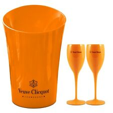 Veuve Clicquot Orange Acrylic Champagne Cooler with Glasses Set