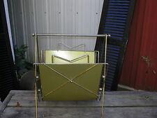 Vintage Retro Eames Atomic Gold Metal Magazine Stand Rack Holder Geometric