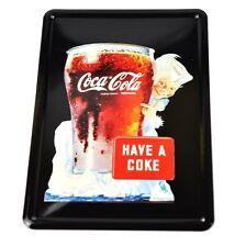 Coca-Cola Coke Blech Schild Metal Plate Motiv Glas mit Sprite Boy Glass