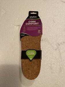 Airplus Women Natural Cork Shoe Insoles Cushion Durable, Size 5-11