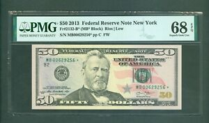 FR#2132-B* 2013 $50 SCARCE NEW YORK STAR NOTE BEAUTY PMG SUPERB GEM 68 EPQ!!!