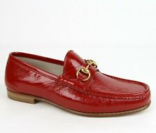 Gucci Men's Red Patent Leather Loafer with Gold Horsebit 6/US 6.5 316974 6420