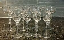 ANTIQUE VINTAGE FOSTORIA ETCHED CRYSTAL WINE CORDIAL GLASSES, RIBBED STEM