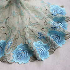 """8.66""""* 2Yds  Green Printed Tulle Based Sky Blue Embroidered Floral Lace Trim"""